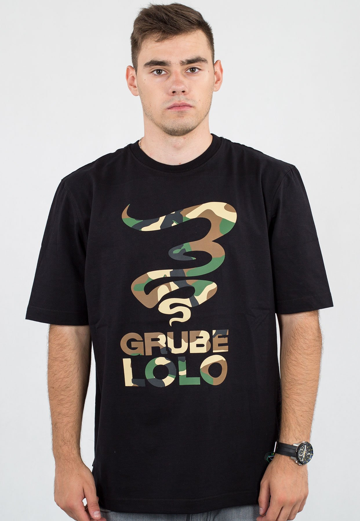 klasyczne dopasowanie najlepsza moda słodkie tanie T-shirt Grube Lolo Dymek Moro czarny