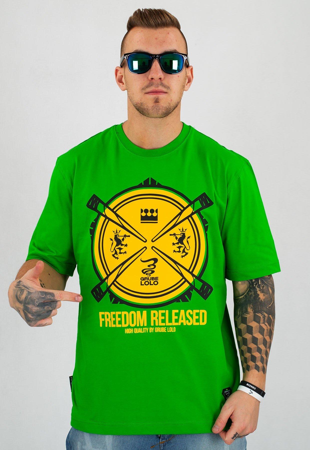 wyprzedaż w sklepie wyprzedażowym popularna marka niska cena sprzedaży T-shirt Grube Lolo Freedom zielony